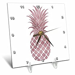 3dRose PS Chic - Picturing Rose Gold Pineapple - 6x6 Desk Clock (dc_271076_1)