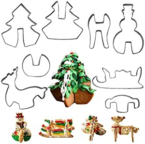 Christmas 3D Type Cracker Cookie Mold, Stainless Steel Cookie Cutter Set of 8, Biscuit Cutters Candy Making Mold, Kitchen DIY Supplies for Fondant, Candy, Cookie and Cake Decorating Tools