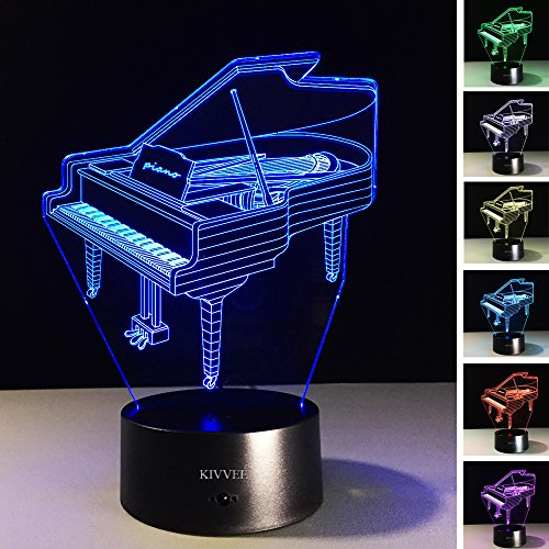 VELAN 3D Lamp Piano Musical instruments best Bithday Gift Acrylic Table Night light Furniture Decorative Illusion colorful 7 color change household Desk Accessories
