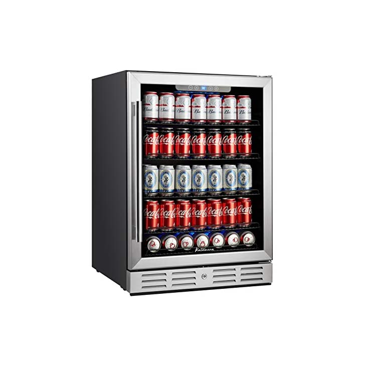 Kalamera Beverage Cooler and Fridge – Fit Perfectly into 24 inch Space Under Counter or Freestanding – 154 Cans Capacity – for Soda, Water, Beer or Wine – For Kitchen or Bar with Blue Interior Light
