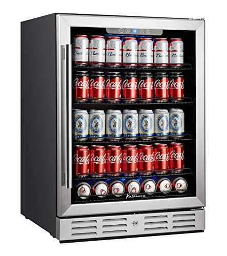 - Kalamera Beverage Cooler and Fridge - Fit Perfectly into 24 inch Space Under Counter or Freestanding - 154 Cans Capacity - for Soda, Water, Beer or Wine - For Kitchen or Bar with Blue Interior Light
