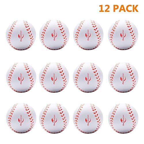 iNextStation Sports Soft Rubber Baseballs White (9 inch Perimeter) for Kids Teenager Players Training Balls(Pack of 12)