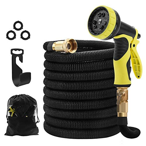 STORUP 50foot Garden Hose Double Latex Core Expandable Water Hose with 3/4″ Solid Brass Fittings,Leakproof Water Hose with 9 Function Spray Nozzle,Perfect for Washing Car,Garden (Garden Hose) (51)
