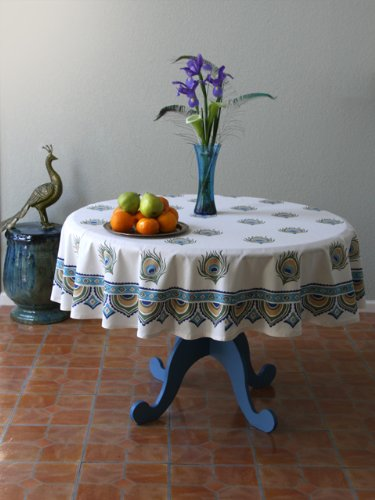 Dance O Peacock ~ Ivory Peacock Feather Elegant Round Tablecloth 90 Round by Saffron Marigold