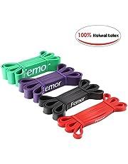 Femor 4pcs Bandas Elásticas de Fitness, con 4 Niveles de Resistencia, de Látex Natural, para Entrenamiento de Fuerza, Culturismo, Yoga, Pilates etc