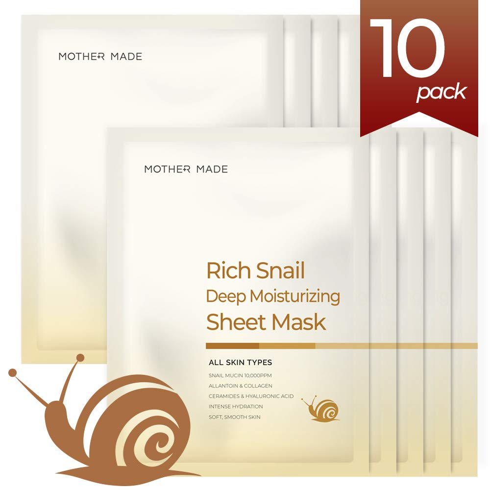 MOTHER MADE Rich Snail Deep Moisturizing Full Face Sheet Mask with Snail Mucin 10,000 ppm, Collagen, Vitamin C - Hydrating, Anti-aging, Anti-Wrinkle, Oil-free, Paraben-free, Unscented, Pack of 10