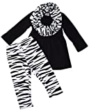 Unique Baby Girls 3 Piece Matching Zebra Print Legging Set (3T/S) Black