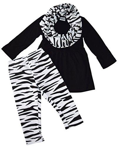 Unique Baby Girls 3 Piece Matching Zebra Print Legging Set (3T/S) Black by Unique Baby (Image #1)