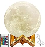 KITTY KIDO - 3D Printed Moon Lamp 16 Colors, Dimmable with Remote&Touch Control (5.9 Inches), USB Rechargeable, Favorite for Kids and Home Decorative Gifts, Moon Light Dinner