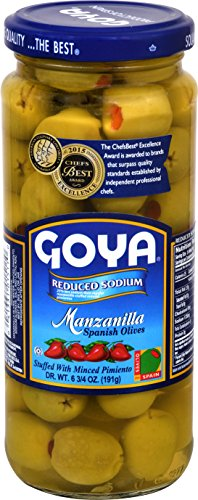 Goya Foods Manzanilla Spanish Olives Stuffed with Minced Reduced Sodium, Pimiento, 6.75 Ounce (Pack of 24)