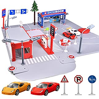 FUN LITTLE TOYS Gas 'n Go Service Station & Showroom Playset, Building Block Set with 2 Mini Car