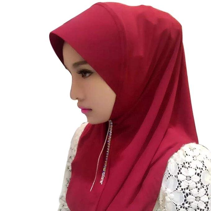 Elodiey Bufanda De De Mujer Bufanda Lista Hijab Para Años 20 Mujer Casquillo De Hijabs De Color Sólido Bufandas De Hijab Abrigo De Mujer Turban Hijab: ...