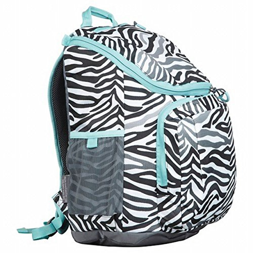 "Embark 17"" Recycled Content Elite Girls' Jartop Backpack with Cushioned Laptop Sleeve (Gray & Black Zebra Stripe)"