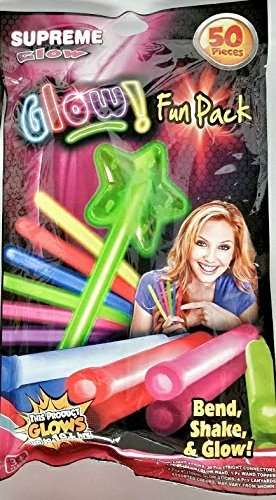 Glow in the Dark 50 piece Fun Pack Assorted Glow Sticks, Glow Wand, Lanyards, Light Sticks for Parties and Backyard Fun Supreme Glow 4' Green Glow Stick