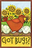 Toland Home Garden Got Bugs? 28 x 40 Inch Decorative Funny Summer Chicken Vegetable Farm House Flag