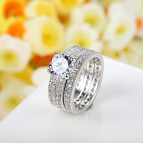 Bamoer Set of 3 18K White Gold Plated Wedding Finger Ring CZ Cubic Zirconia Jewelry (9)
