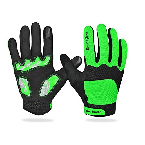 Ezyoutdoor Green Unisex Breathable Touch Screen Full Finger Cycling Gloves Light Silicone Gel Pad Riding Gloves Bike Gloves Mountain Bike Gloves,Medium