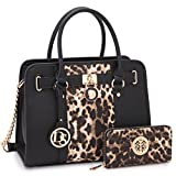 Dasein Women's Designer Satchel Handbag Two Toned Padlock Purse Top Handle Shoulder Bag w/Chain Strap (2-Leopard/Black + Matching Wallet)