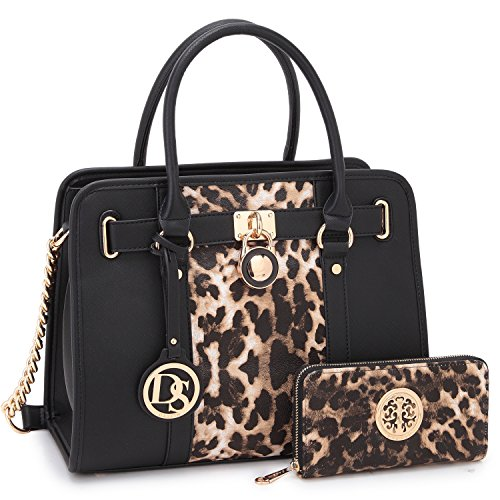 Top Two leopard Shoulder Bag Purse Toned Designer Padlock Handbag Strap Black Dasein Chain Handle Matching w Wallet Women's 2 Satchel qva48WgBIw