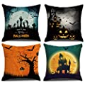Pack of 4 Vintage Halloween Pillow Covers Owl Crow Pumpkin Skull Throw Pillow Covers Halloween Cushion Covers 18 x 18 inch