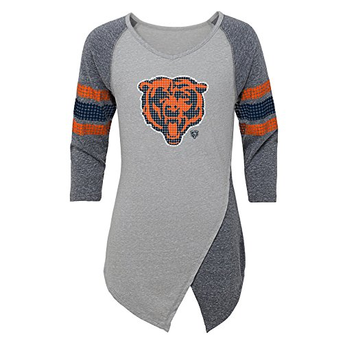 - Outerstuff NFL Chicago Bears Juniors Lavish Crossover Asymmetric Hem Top, Heather Grey, Juniors Medium(7-9)