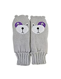 Childrens/Kids Girls Teddy Bear Design Winter Mittens (7-10 Years) (Grey/Purple)