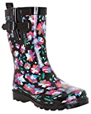 Capelli New York Ladies Bright Floral Printed Mid- Calf Rain Boot Black Combo 8