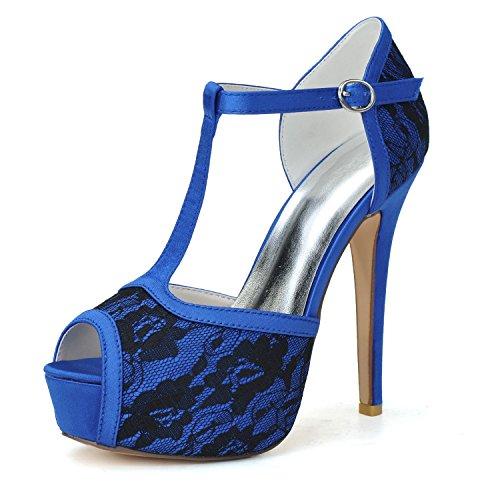 pompa di caviglia nozze della donne alto party Il tacco dress punta scarpe Qingchunhuangtang cinghia blu appuntita piattaforma nqFYOxx1w