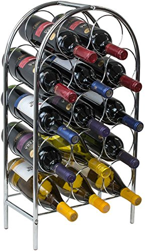 Sorbus Wine Rack Stand Bordeaux Chateau Style - Holds 14 Bottles of Your Favorite Wine - Elegant Storage for Kitchen, Dining Room, Bar, or Wine Cellar (Silver)