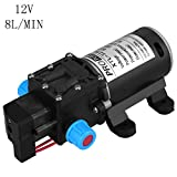 High Pressure Water Pump, DC 12V Self Priming Water Pump Diaphragm Water Pump with Automatic Switch for Car Washing Boat Cleaning and Garden Watering, Max Flow 8L/min
