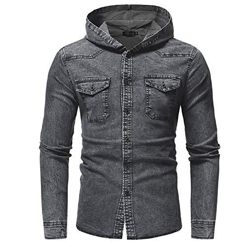 IYFBXl Herren-Out-Größe-Shirt - einfarbig mit Kapuze, grau, L