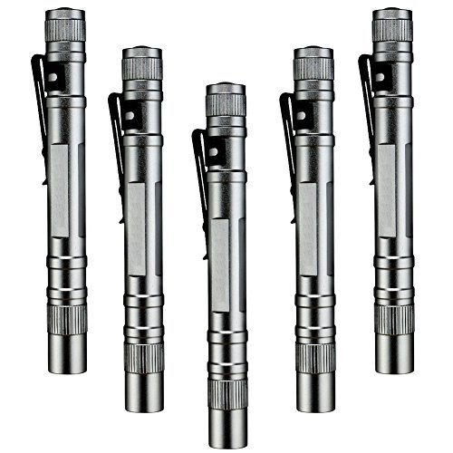 [5-Pack] LED Penlight, RuiFengShun Ultra Bright Tactical Medical Flashlight Pocket Size Work Pen Light for Police, Nurses, Doctors, Searching, AAA Battery(Not Included)