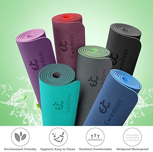 Ewedoos Yoga Mat Non Slip TPE Yoga Mats Exercise Mat Eco Friendly Workout Mat for Yoga, Pilates and Floor Exercise Thick Fitness Mat Carry Strap Included