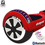 Self Balancing Scooter (MAX 220 lbs), Skque 6.5' I1.3 UL2272 Smart Two Wheel Self Balancing Electric Scooter with Bluetooth Speaker and Running LED Lights, Red