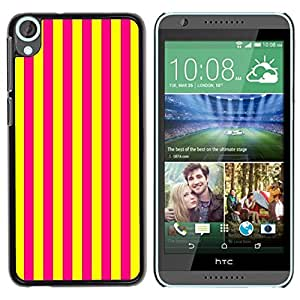 Design for Girls Plastic Cover Case FOR HTC Desire 820 Vertical Lines Bright Yellow Purple OBBA