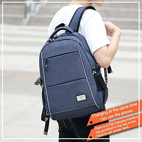 Mochila de ordenador portátil de negocios impermeable, mochilas de ordenador universitario con puerto de carga USB para hombres, se adapta a portátil de 15,6 pulgadas y tableta (Azul) Azul
