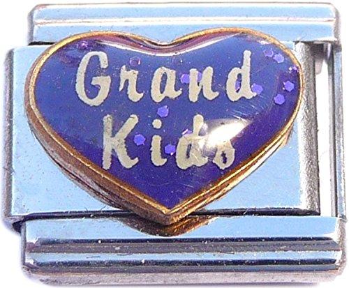 Art Italian Charm - Grand Kids on Purple Italian Charm