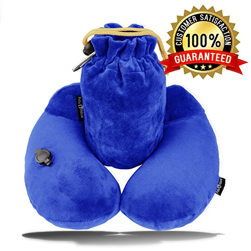 PELLO Inflatable Travel Pillow for Airplanes - Best Travel Neck Pillows, with Adjustable Firmness, Packsack, Luggage Clip, Washable Cover - Luxury U Shaped Kneck Pillow & Airplane Travel Accessories