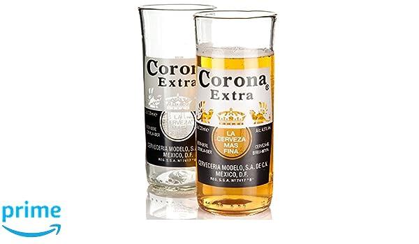 Whos Glass - Vasos altos (botellas de Corona recicladas, hecho a mano, 2 unidades): Amazon.es: Hogar