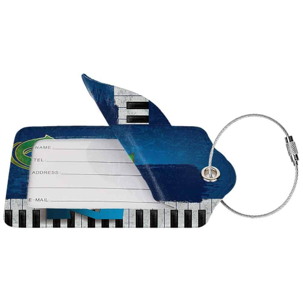 Soft luggage tag Jazz Music Decor Abstract Cracked Jazz Music Background with Piano Keys Music Theme Decoration Bendable Navy Green White W2.7 x L4.6