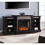 SEI Furniture Gallatin Alexa-Enabled Smart Bookcase Fireplace, Black