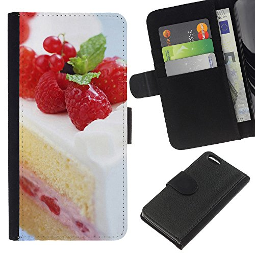 Lead-Star (Fruit Macro Raspberry Cake) Colorful Impression Holster Cuir Wallet Cover Housse Peau Cas Case Coque Pour Apple iPhone 5C