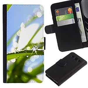 ZONECELL (No Para S3 Mini) Imagen Frontal Negro Cuero Tarjeta Ranura Trasera Funda Carcasa Diseño Tapa Cover Skin Protectora Case Para Samsung Galaxy S3 III I9300 - gota de agua macro hoja