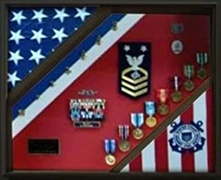 product image for 2 Flag Display Case, Coast Guard Gifts, USCG, Shadow Box, USCG Shadow Box, Coast Guard Cutter, USCG Shield, Flag and Medal Display case.