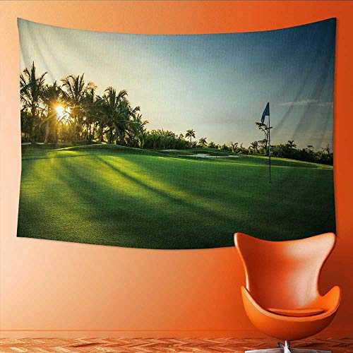 Printsonne Tapestry Table Cover Bedspread Beach Towel Golf Course in The Countryside Dorm Decor 80W x 60L Inch -
