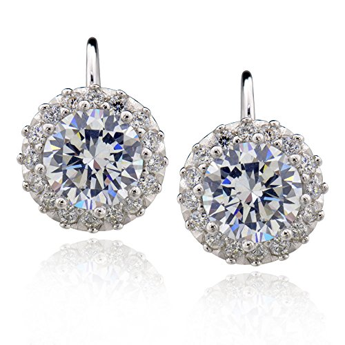 Sterling Silver 4.5 Ct Round Cubic Zirconia Halo Leverback Earrings