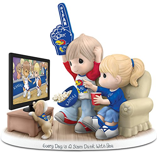 The Hamilton Collection Figurine: Precious Moments Every Day is A Slam Dunk with You Kansas Jayhawks Figurine