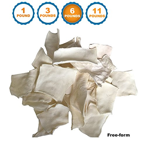 123 Treats - Free-form Rawhide Chips for Dogs (6 LB) Beef Hide Dog Chews Packed in the USA by 123 Treats