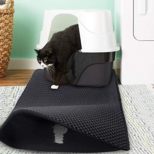 Morfone Katzenklo Matte, Große Größe 75 * 55 cm katzenklo vorleger Waben Design Katzenstreu Matte Wasserdichte Doppelte…