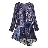 CATALOG CLASSICS Women's Tunic Top - Violet Lace Fusion Floral Mixed Textures Blouse - XL
